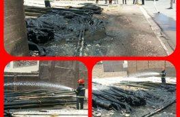 جمعه ۲۲ تیر چیدمان غیر اصولی و ناایمن باعث آتشسوزی در انبار لوله