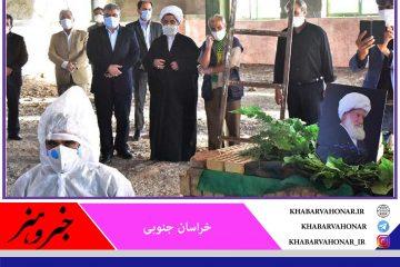 پیکر آیت الله ربانی در زادگاهش روستای مهمویی به خاک سپرده شد
