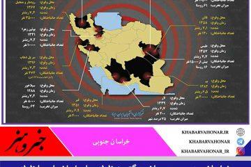 خراسان جنوبی رکورد دار زلزله های بزرگ ایران