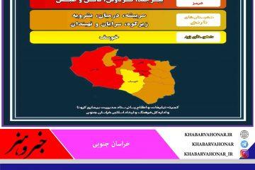آخرین وضعیت رنگ بندی شهرستانهای استان خراسان جنوبی دوشنبه ۱۴۰۰/۰۱/۲۳