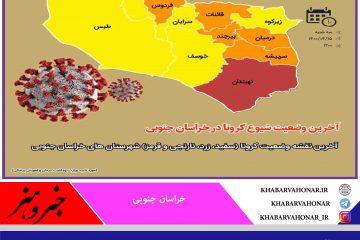 آخرین نقشه وضعیت کرونا (سفید، زرد، نارنجی و قرمز) شهرستان های خراسان جنوبی