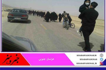 سیل خروشان مردمولایی شهرستان بشرویه در راهپیمایی امروز جاماندگان اربعین