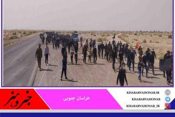 پیاده روی جاماندگان پیاده روی اربعین حسینی در بخش دستگردان طبس